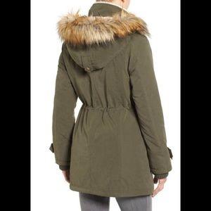 Halogen Hooded Faux Fur Trim Anorak Coat